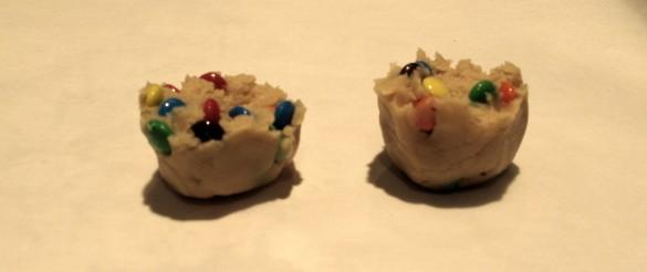 M&M Mega Cookies dough ball torn in half