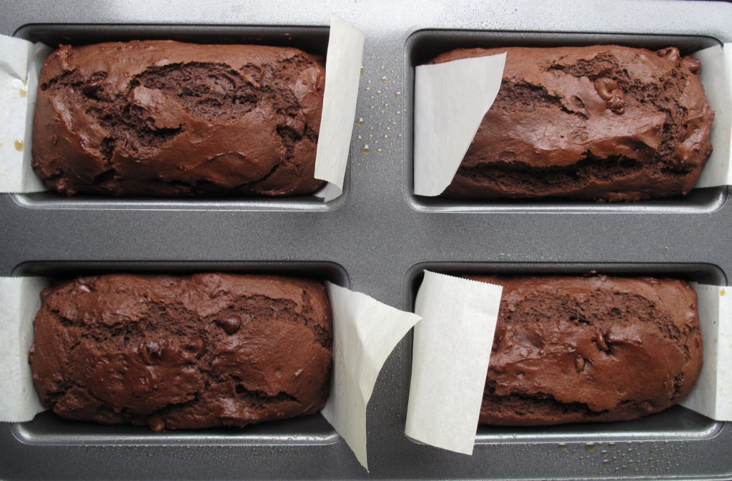Chocolate Yogurt Loaf Cake in mini loaf pan