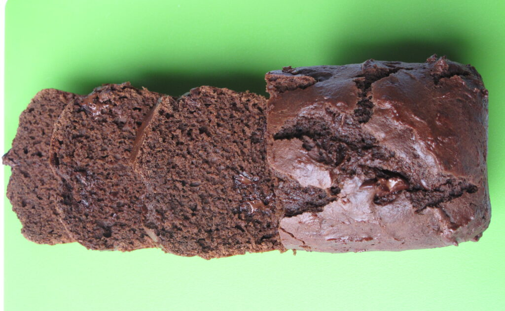 Chocolate Yogurt Loaf Cake sliced