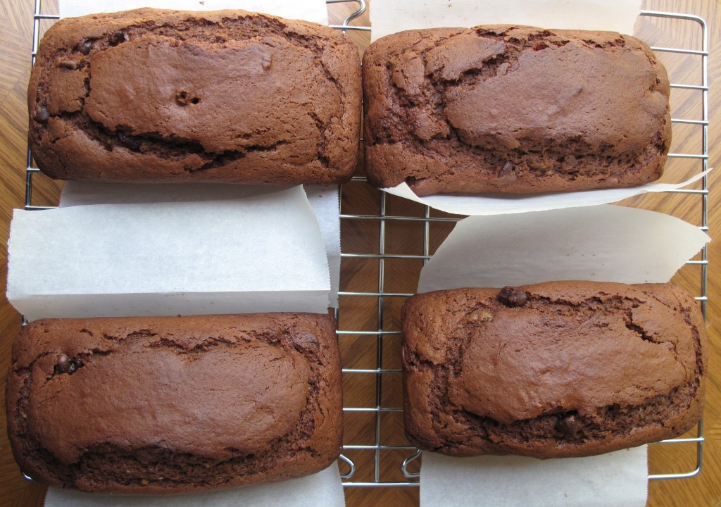 Chocolate Yogurt Loaf Cakes on cooling rack