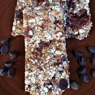 Granola bars on brown plate