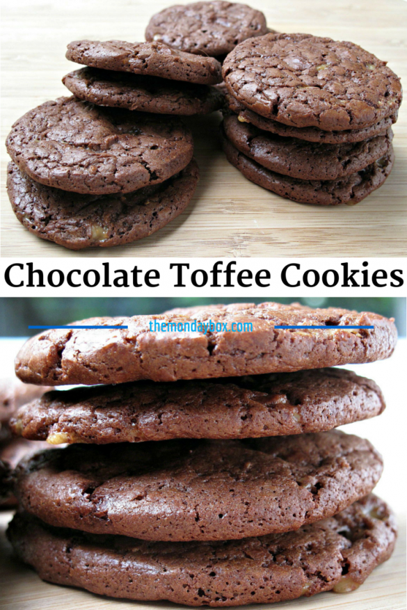 Chocolate Toffee Cookies- These amazing slice-and-bake cookes are rich and chocolate-y and chewy. A candy bar in cookie form.| The Monday Box