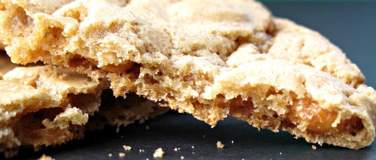 Closeup of thin, broken cookie edge showing crisp interior.