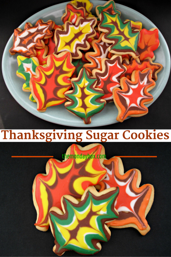 Decorated Thanksgiving Sugar Cookies-beautiful fall colored icing patterns are EASY to create on these soft vanilla sugar cookies (tutorial and recipe)! | The Monday Box