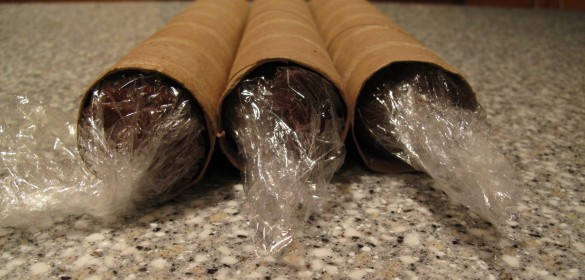 end view of 3 plastic wrapped dough logs inside paper towel tubes