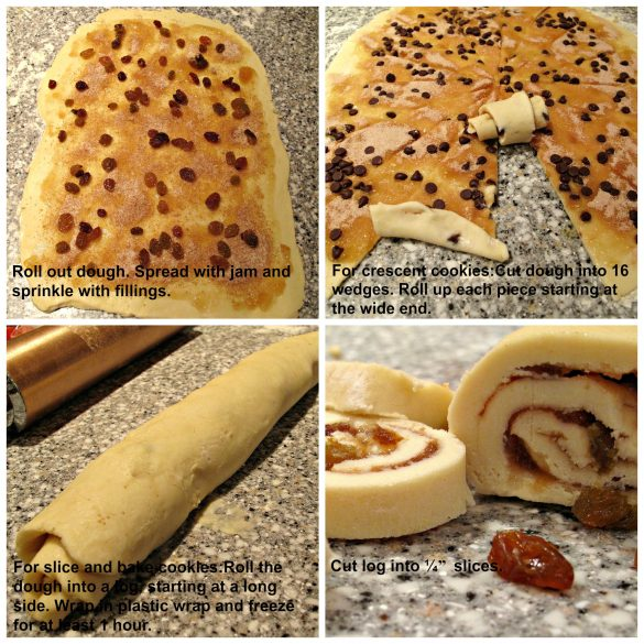 step by step images collage with text overlay for preparing rugelach