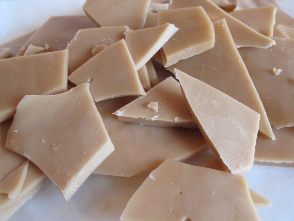Shards of homemade toffee.