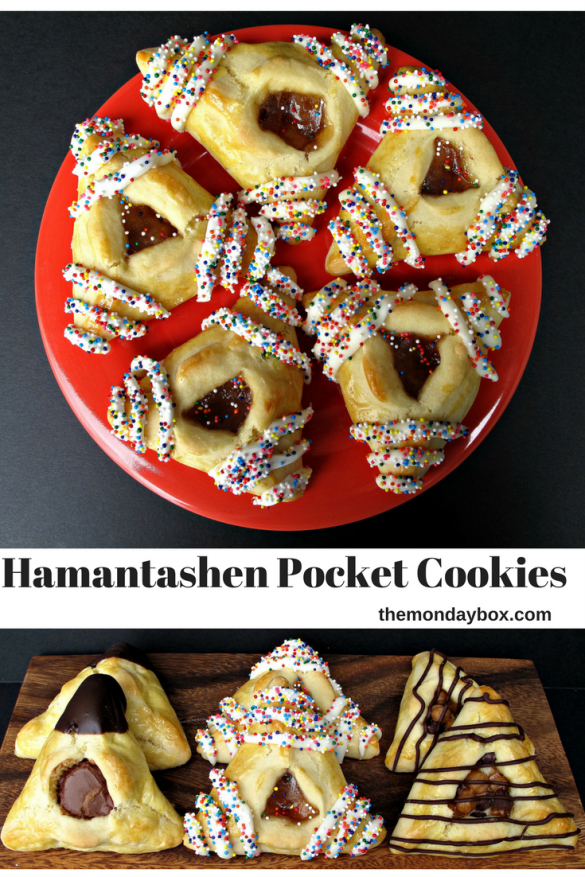 Hamantashen Pocket Cookies top on red plate, bottom on wood board