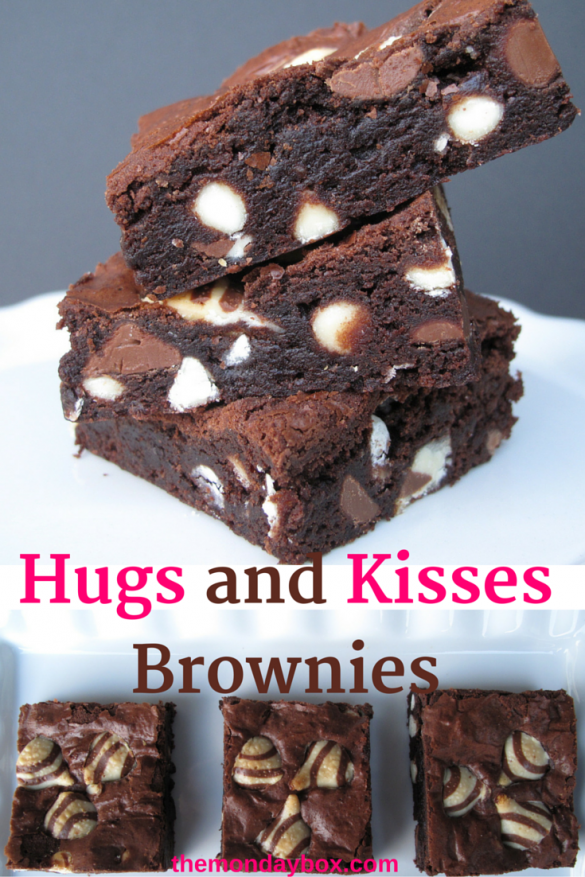 Hugs and Kisses Brownies- chewy fudge brownies with Hershey's Hugs and Kisses.....desert safe recipe | The Monday Box
