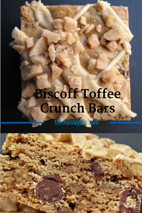 Biscoff Toffee Crunch Bars with Biscoff Icing- chewy cookie butter blondie with chocolate chips and toffee bits with cookie butter icing! | The Monday Box