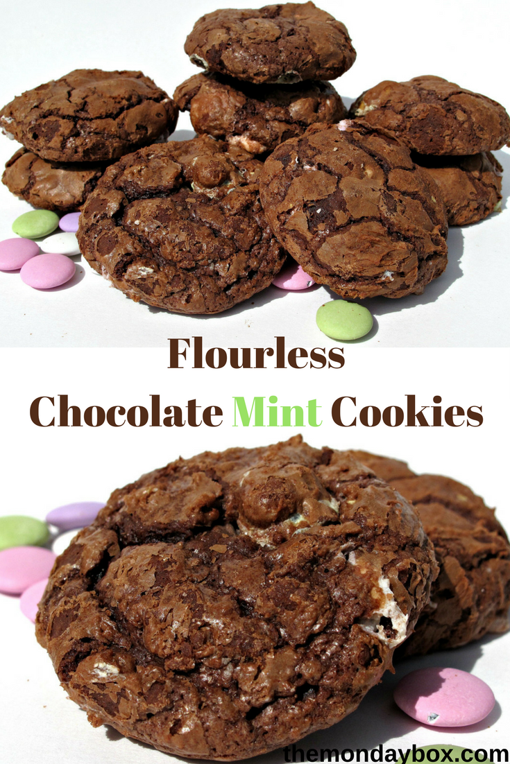 Flourless Chocolate Mint Cookies-fudgy, minty, and crunchy-chewy ...