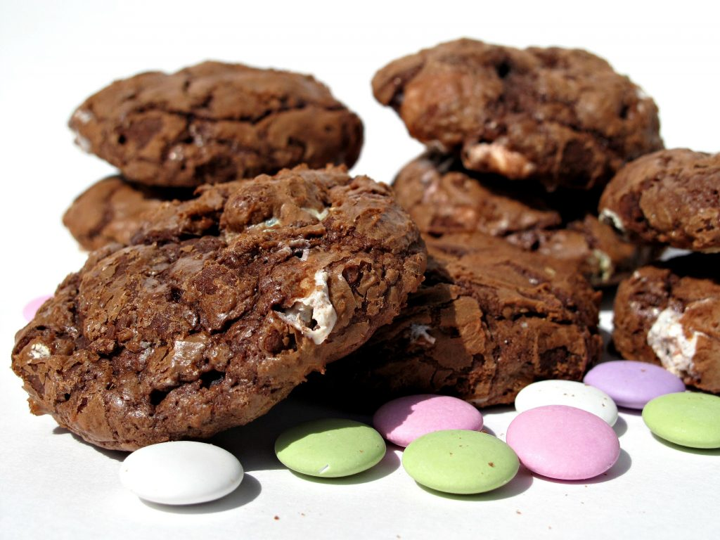 Flourless Chocolate Cookies and pastel colored mint lentil candies.