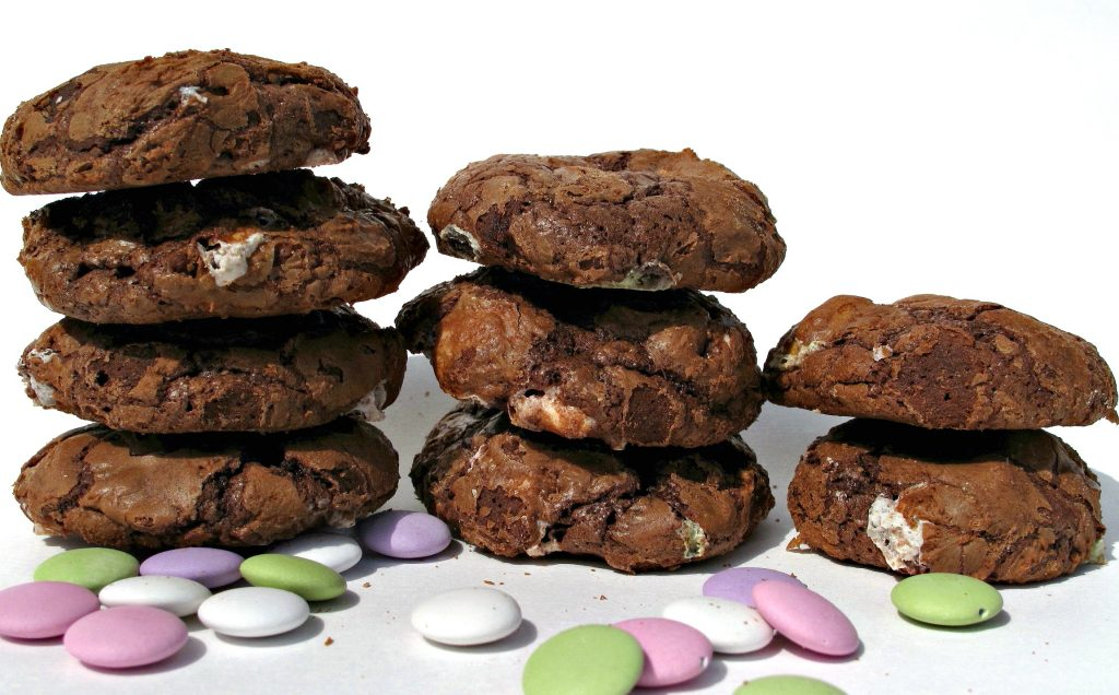 Flourless Chocolate Cookies in three stacks.