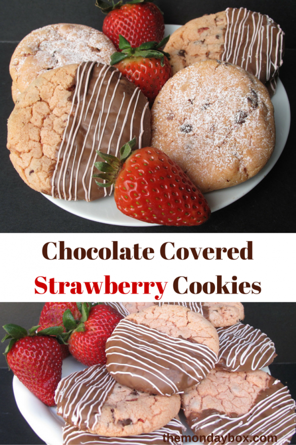 Chocolate Covered Strawberry Cookies- This Mothers Day classic in cookie form! This desert-safe recipe is especially great for care packages to military moms! | The Monday Box