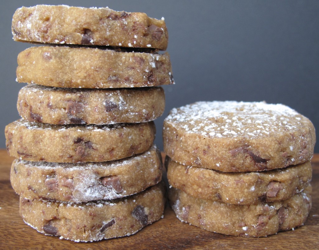 Espresso Chocolate Shortbread Cookies in two piles