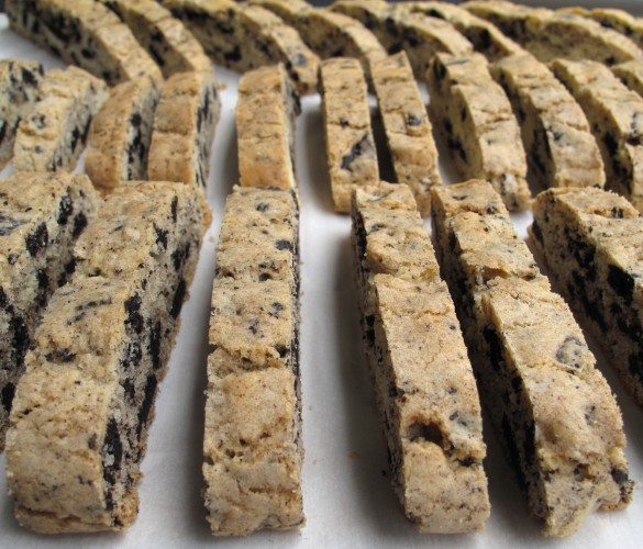 Cut biscotti lined up for second baking.