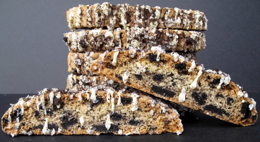 Close up of Oreo Biscotti showing inside full of chocolate sandwich cookie pieces.