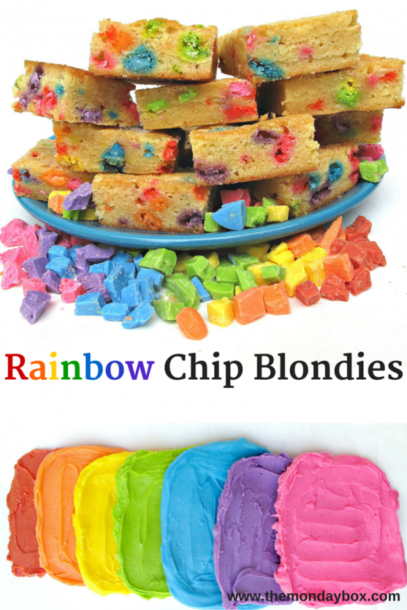 Rainbow Chip Blondies- chewy vanilla blondies with easy-to-make homemade rainbow colored chips! | The Monday Box