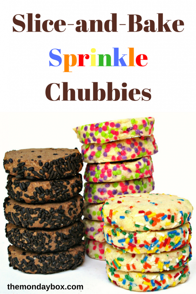 Three stacks of cookies, each with a sprinkles coating the edges. One chocolate pile with chocolate sprinkles, and two vanilla cookie piles with multi-colored sprinkles.