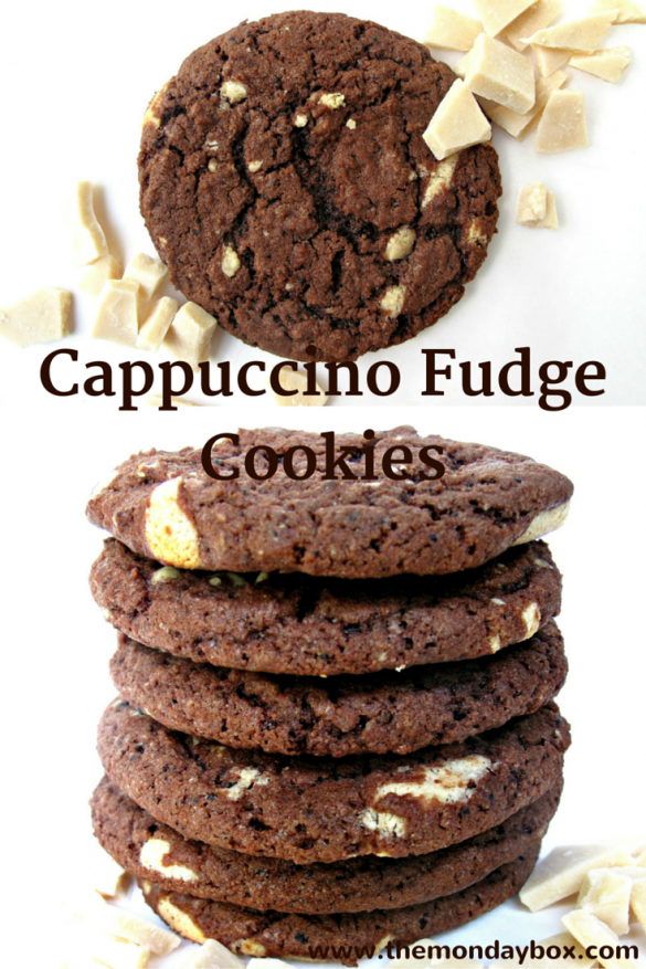 Cappuccino Fudge Cookies- a great dunking cookie, chewy and full of fudgy coffee flavor!| The Monday Box
