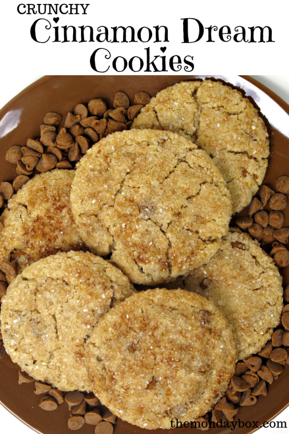 Cinnamon Cream Cookies on a brown plate surrounded by cinnamon chips and a banner on top of the photos with the words Crunchy Cinnamon Dream Cookies
