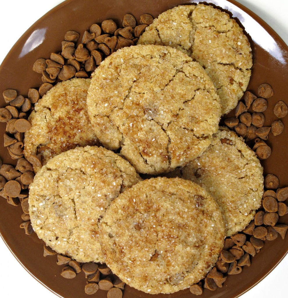 cookies on a brown plate surrounded by cinnamon chips