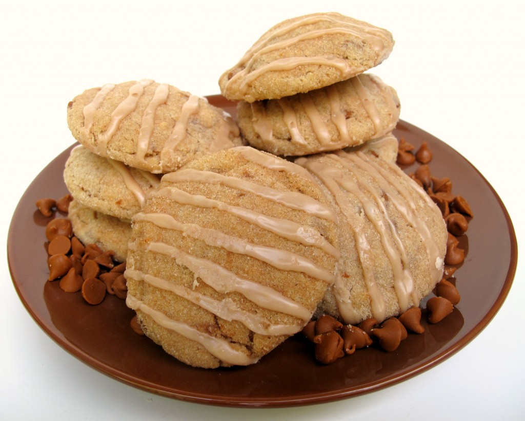 Cinnamon Dream Cookies on a brown plate with cinnamon chips