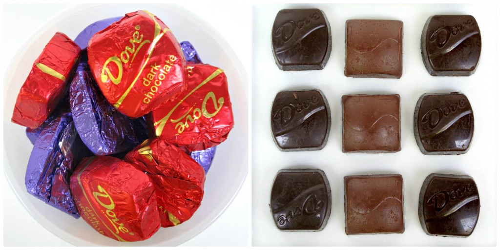 Dove chocolates in red and purple wrappers and unwrapped.