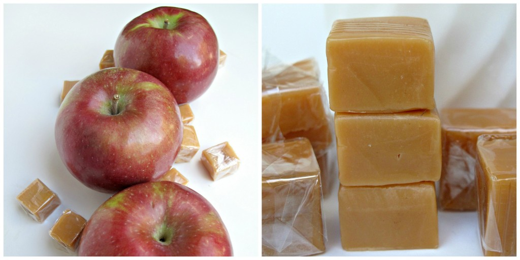 Red apples and wrapped squares of caramel