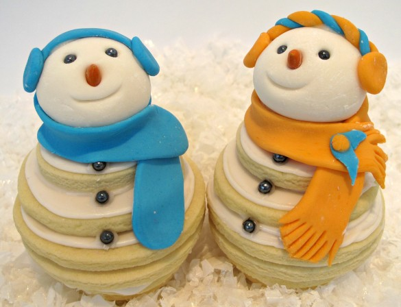 Smiling Snowmen Cookie Stacks