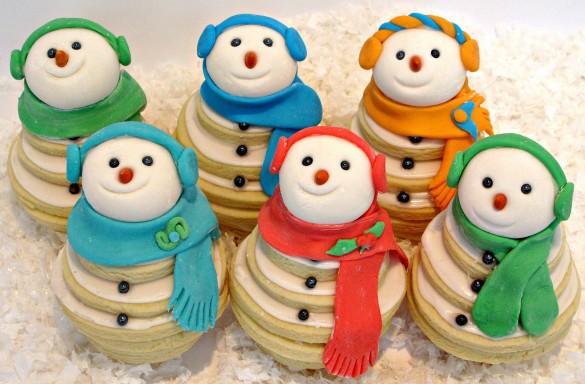 Smiling Snowmen Cookie Stacks