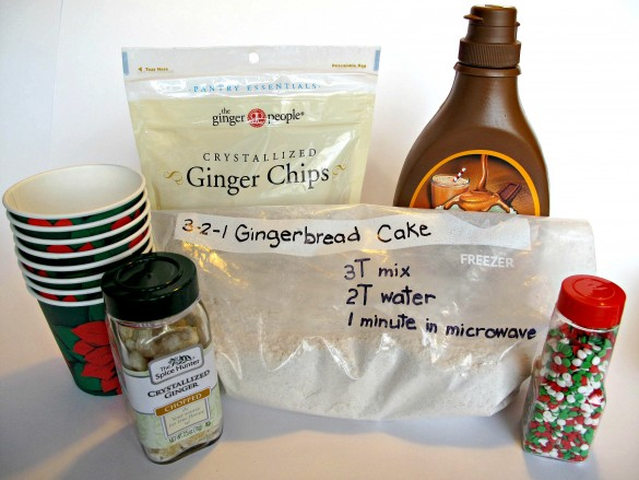 Photo of the ingredients for 3-2-1 Gingerbread Cake with Crystallized Ginger and Caramel Syrup