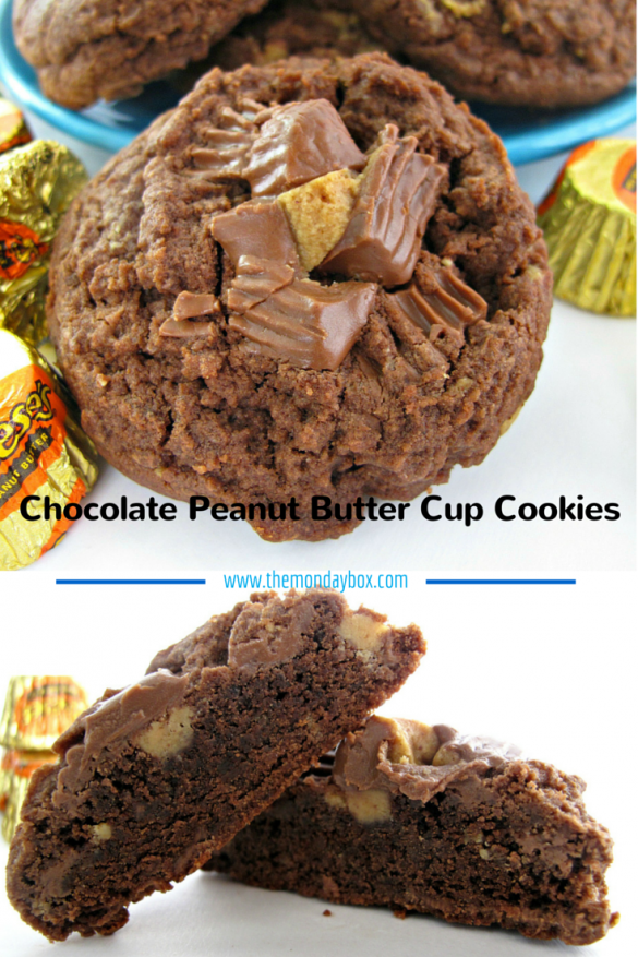 Chocolate Peanut Butter Cup Cookies; top photo up close with luscious chopped peanut butter cups on top of the thick, chocolate cookie., bottom photo shows the chewy chocolate center of a cookie cut in half.
