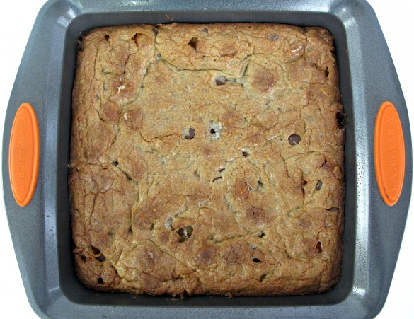 Chocolate Chip Cookie Bars in square baking pan