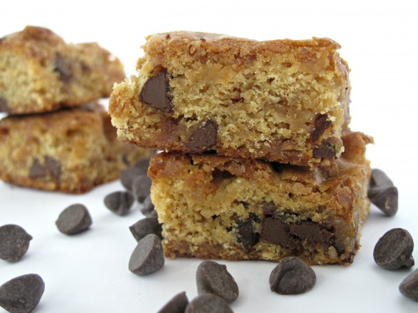 two stacked Chocolate Chip Cookie Bars