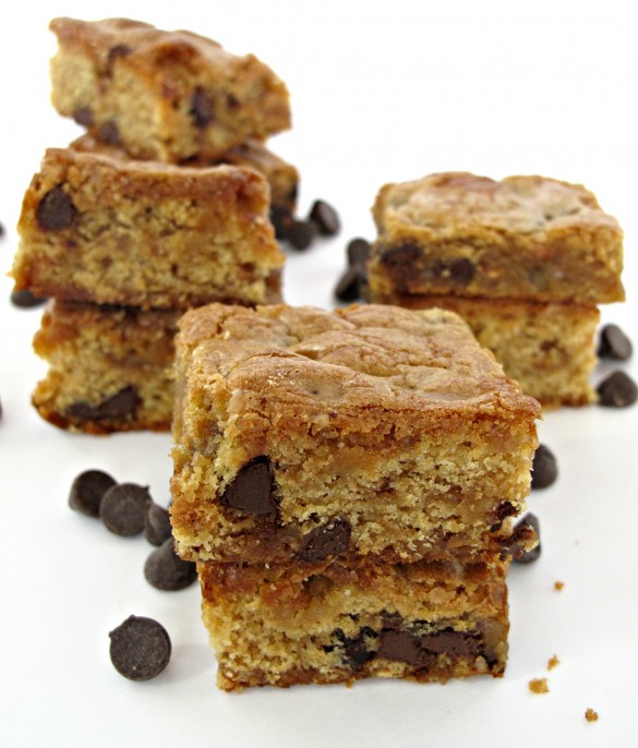 Chocolate Chip Cookie Bars in three piles