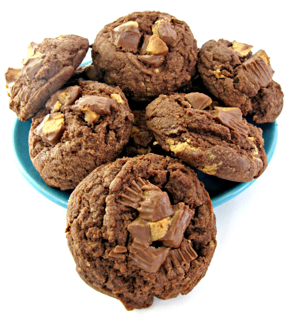 Thick, chocolate cookies with chunks of peanut butter cups on top on a blue plate.