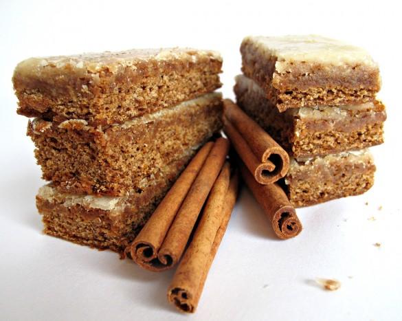 Chewy Cinnamon Ginger Lebkuchen Bars with Orange-Ginger Glaze