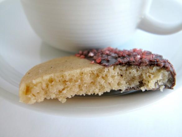 Chocolate-Dipped Peach Tea Shortbread Cookies