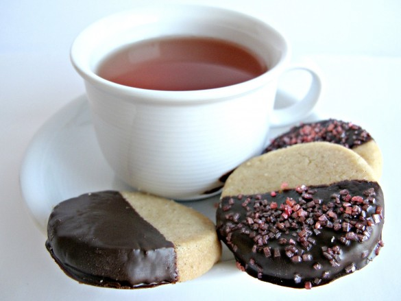 Chocolate-Dipped Peach Tea Shortbread Cookies