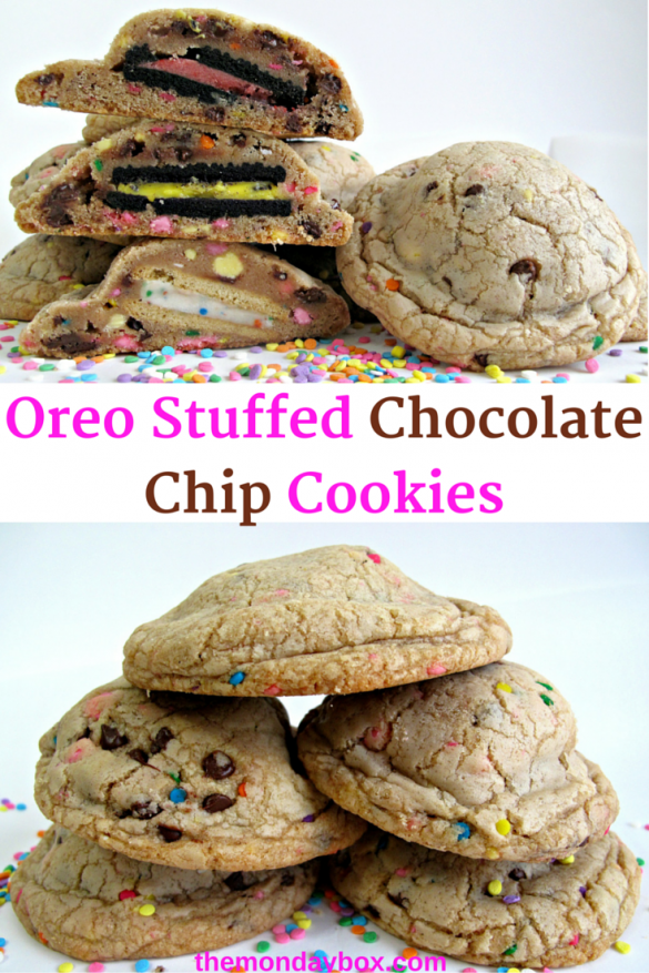 Oreo Stuffed Chocolate Chip Cookies- chewy funfetti chocolate chip ...