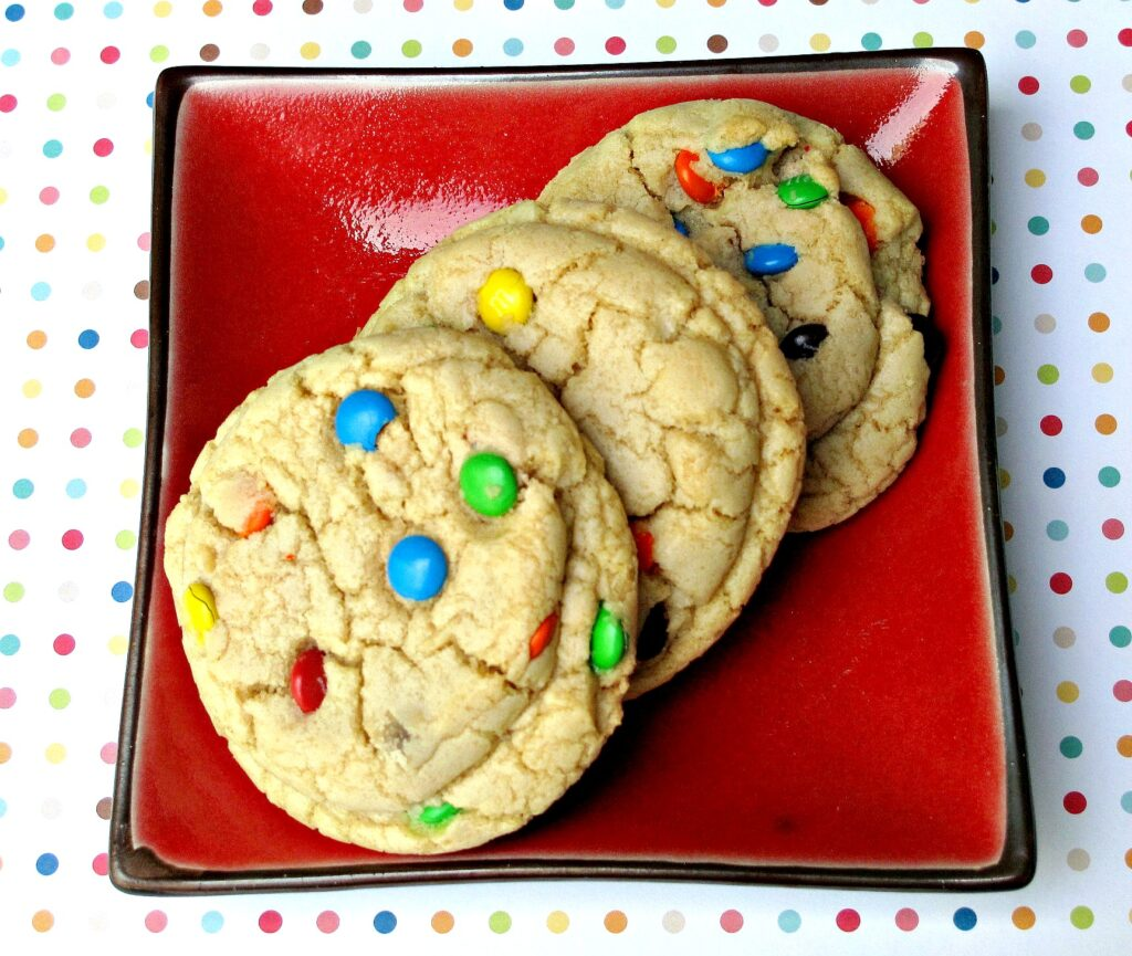 M&M Mega Cookie on square red plate