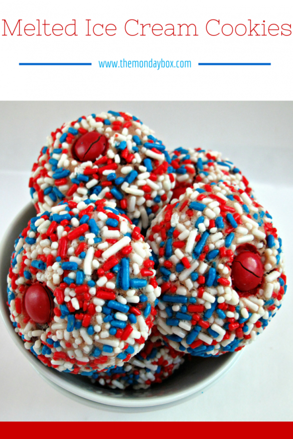"Melted Ice Cream Cookies- dense but tender balls of slightly sweet cookie, mildly flavored by the ice cream and chips of your choice. With a red M&M ""cherry"" on top, they even sort of look like slightly melted, sprinkle encased scoops of ice cream!
