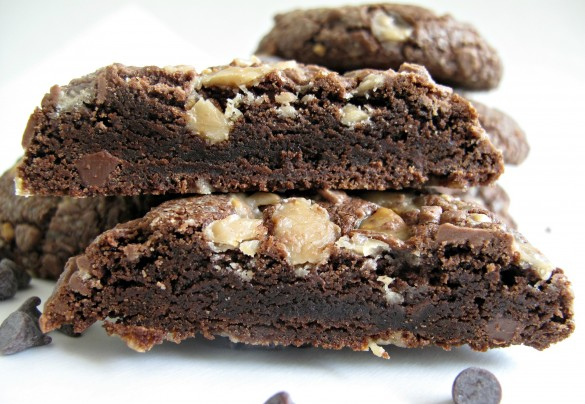 Soft Chocolate-Toffee Cookies cut in half to show the inside