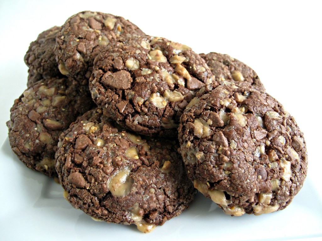 Soft Chocolate-Toffee Cookies in a pile