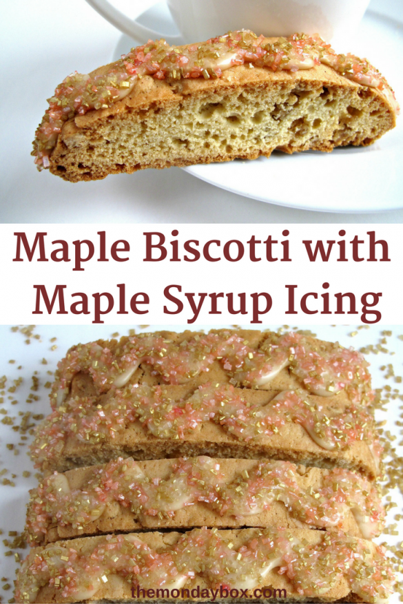 Maple Biscotti with Maple Syrup Icing- loaded with maple flavor, these fragrant, crunchy cookies are perfect for dipping into a cup of tea, coffee, or milk!|The Monday Box