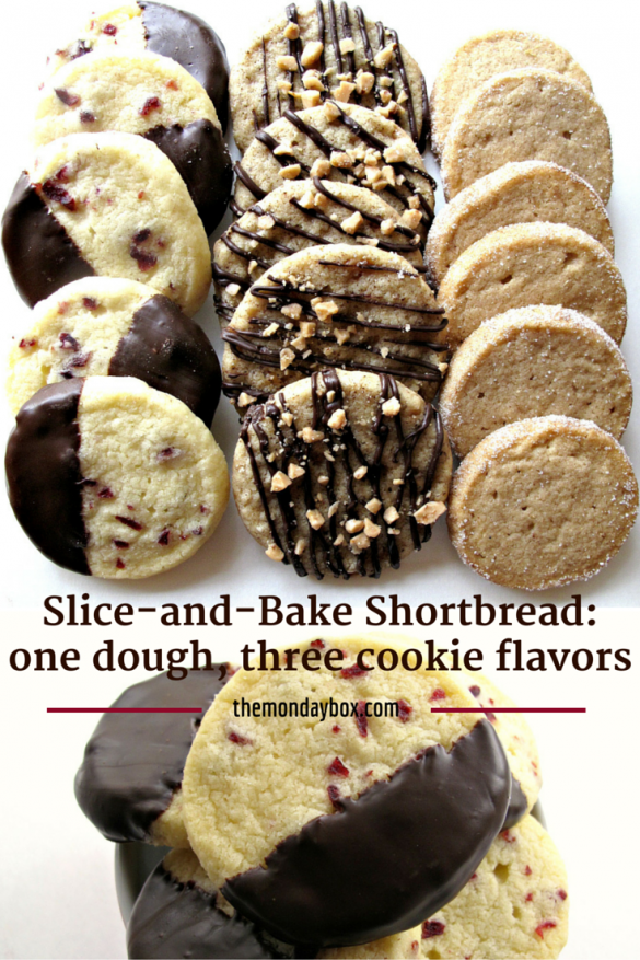 Pin Image for Slice-and-Bake Shortbread showing all three flavors of cookies lined up.