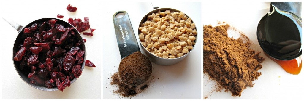Ingredients for the three varieties of cookie dough: craisins, espresso powder and toffee bits, cinnamon and flavoring.