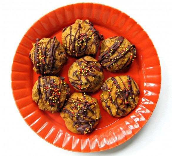 Pumpkin Chocolate Chip Pillow Cookies (gluten free option) #cookiemonth14