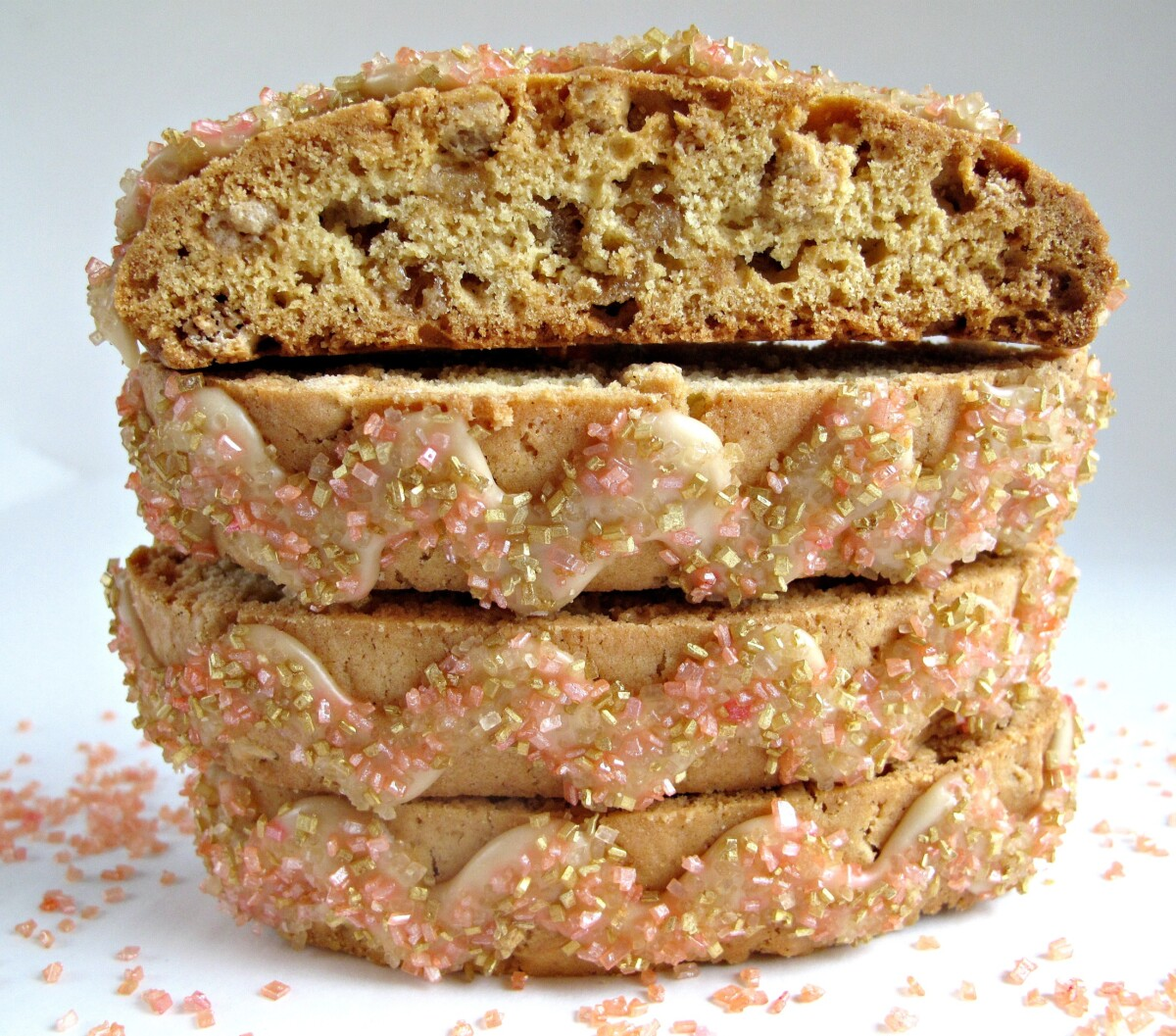 Stack of cookies showing the decorative zigzag icing on top of each.
